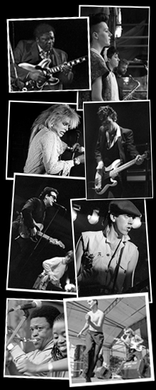 8 photos by Paul Norris that include BB King, Hanoi Rocks, The Pretenders, Elvis Costello, The Clash, Hugh Masekela and The Blue Aeroplanes